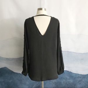 Ro & De Black Lace Sleeve Cutout Back Top